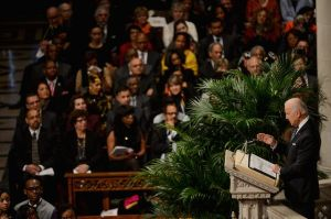 """ANDREW HARNIK Vice President Joseph R. Biden recalls warmly his meeting with Nelson Mandela in South Africa during Wednesday's national memorial service for the former South African president at the Washington National Cathedral. """"So many places in the world need the spirit of Nelson Mandela,"""" Mr. Biden said."""