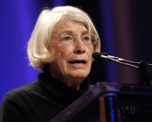 Poet Mary Oliver reads one of her poems during the lunch session at The Women's Conference in Long Beach, California October 26, 2010.  REUTERS/Mario Anzuoni  (UNITED STATES - Tags: ENTERTAINMENT POLITICS SOCIETY)