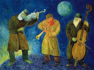 """KLEZMERS ON THE MOON,"" 1995.  Oil on canvas, 30 x 40 in., (76,2 x 89,6 cm). Cat. Ref. #G-95.21."