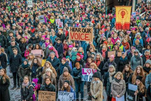 Protesters gather for the Women's March in Oslo